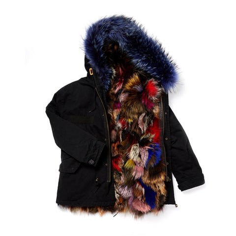 Dani Parka Black Multi Fox Fur