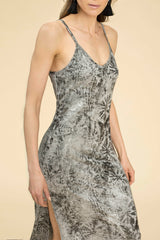 DAVIS PROJECT PEARL SLIP DRESS METALLIC SILVER