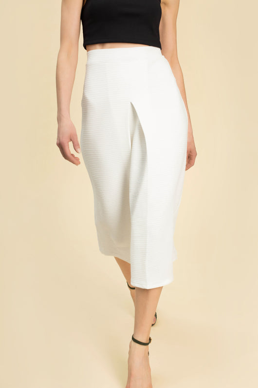 DAVIS PROJECT PHYLLIS A LINE SKIRT WHITE INVERTED PLEAT
