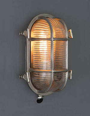 Barge wall light, cage light, glass and metal light, outside light. vintage wall light, industrial light, wholesale lighting nz, wholesale lights new zealand