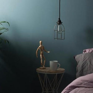 Pendant light set, cage light, vintage lampholder, bedside light, UK made ceiling rose. vintage lighting, industrial lighting. Complete lighting set. cord set, coloured electrical cable, freedom furniture lighting, ECC lighting,