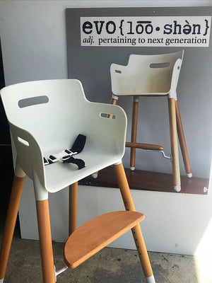 Evo highchair, adjustable wooden high chair, highchair 5 point harness, Evo cushion, height adjustable chair, toddler chair, highchair bar height, wood legs kids chair, Mocka, nordic style chair, scandi highchair safety standards highchair, wooden highchair new zealand.