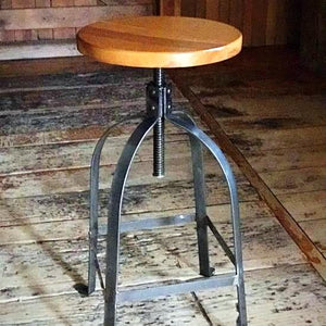 Wood Top Factory Stool Tall