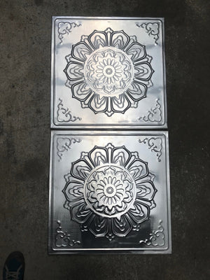 Lotus flower tin panel