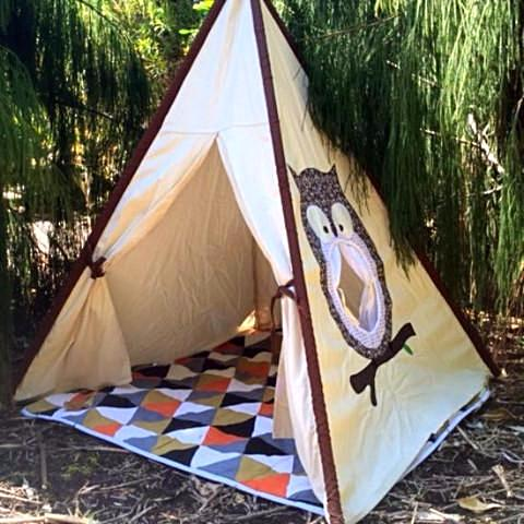 ... Kids teepee tipi kids play tent play tent cotton tent canvas ... & Owl Teepee - Kiwi Living