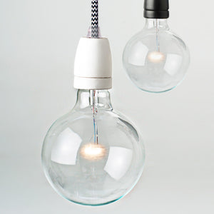 Bare Bulb Porcelain Set - White