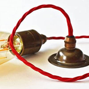 Pendant light set, metal lampholder, metal ceiling rose. vintage lighting, industrial lighting. Complete lighting set. cord set, coloured electrical cable, wholesale lighting nz, wholesale price cable cord, lighting components wholesale,