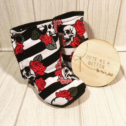 skulls and roses soft sole booties