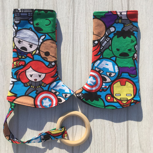 Avengers Curved Suck/ teething pads. Tula, manducca, ergo, lilliebaby and Bjorn