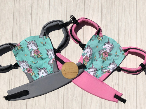 Mint unicorn doll carrier, mini soft structured carrier