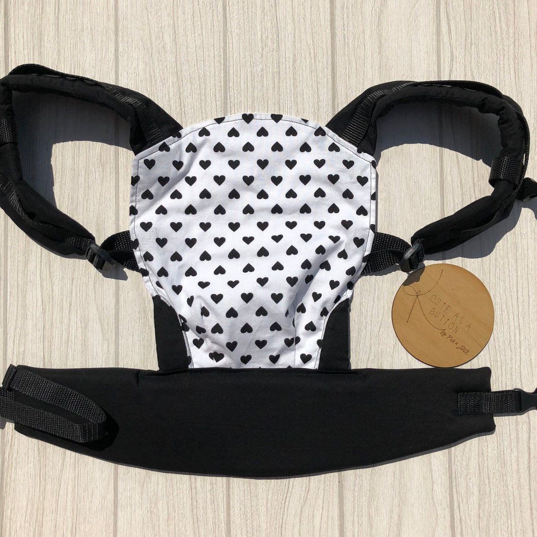 Black hearts doll carrier, mini soft structured carrier