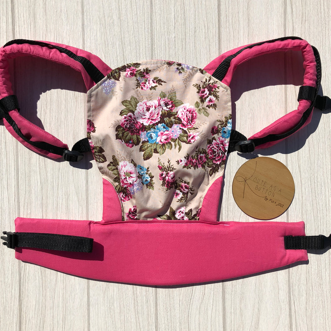 Floral doll carrier, mini soft structured carrier