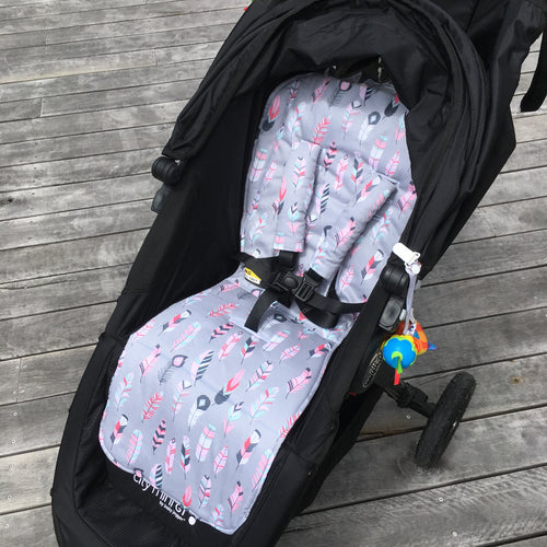 grey feathers pram liner