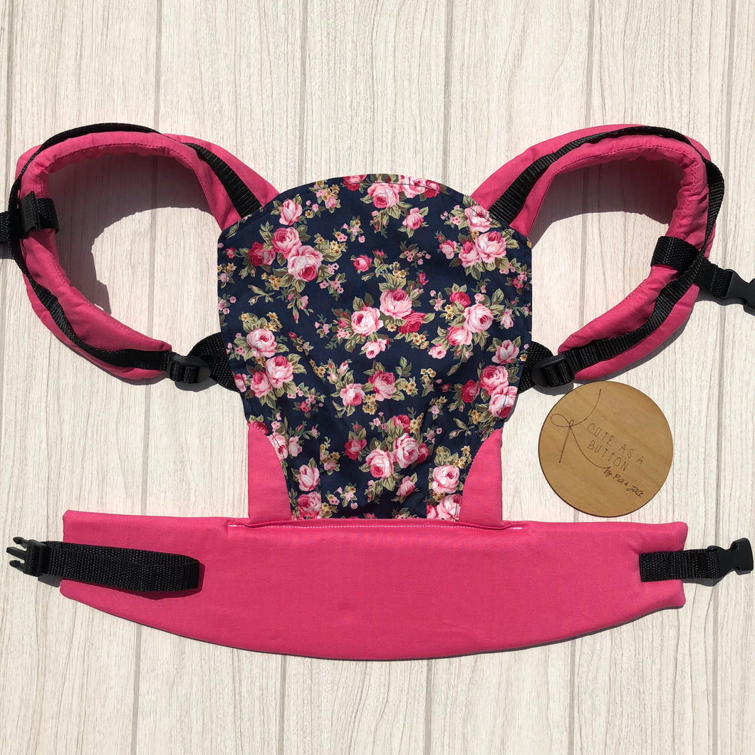 Navy floral doll carrier, mini soft structured carrier
