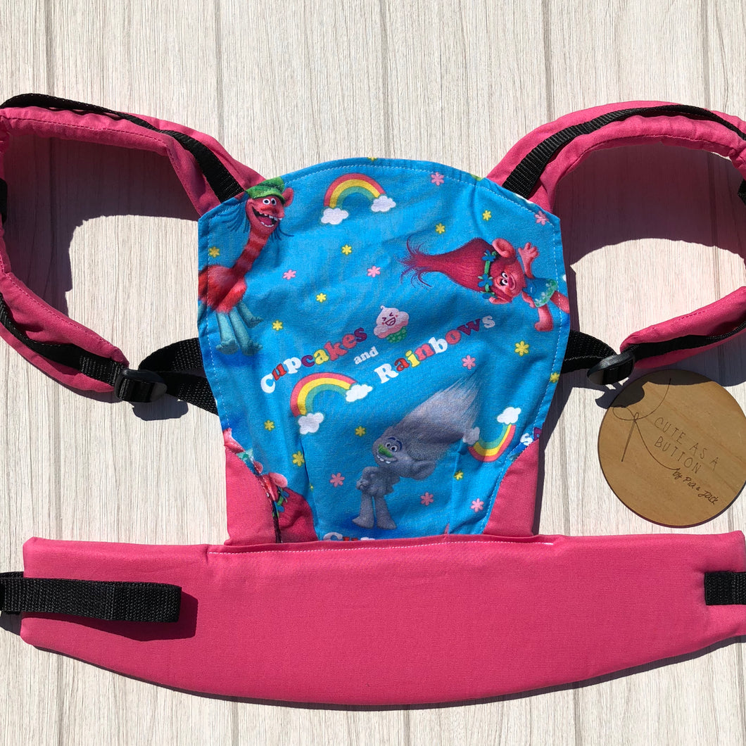 Blue trolls doll carrier, mini soft structured carrier