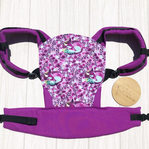 Raspberry Fox nap doll carrier, mini soft structured carrier