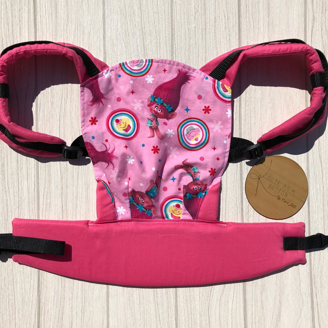 Pink trolls doll carrier, mini soft structured carrier