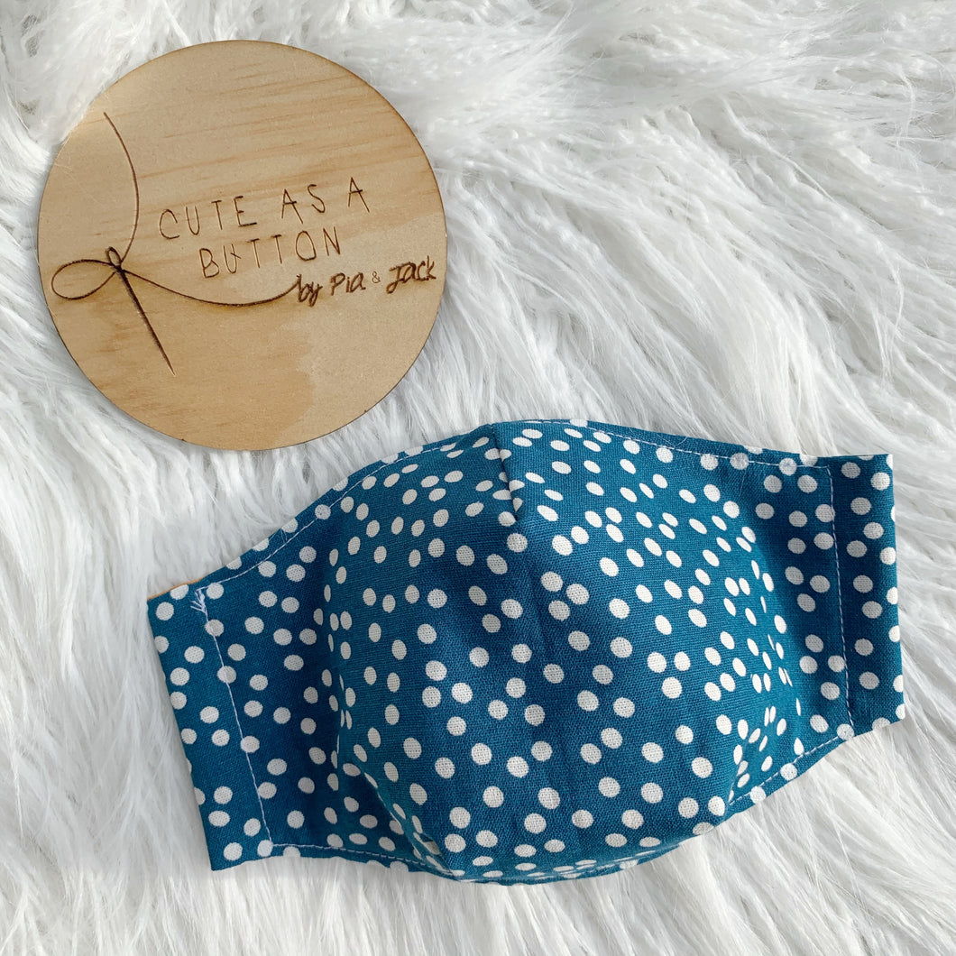 Blue dot linen face mask