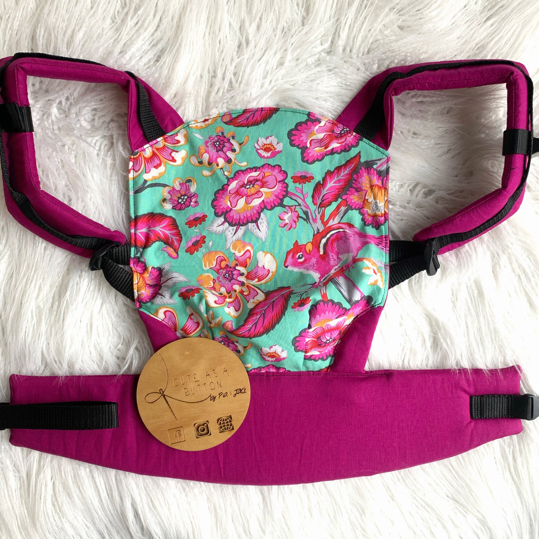 Raspberry squirrels doll carrier, mini soft structured carrier