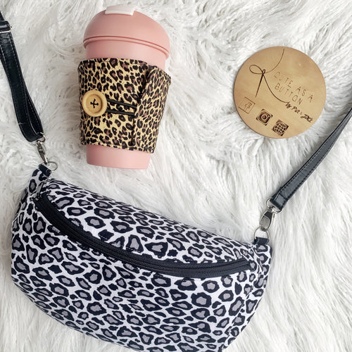 Cross body hip pouch- mono leopard