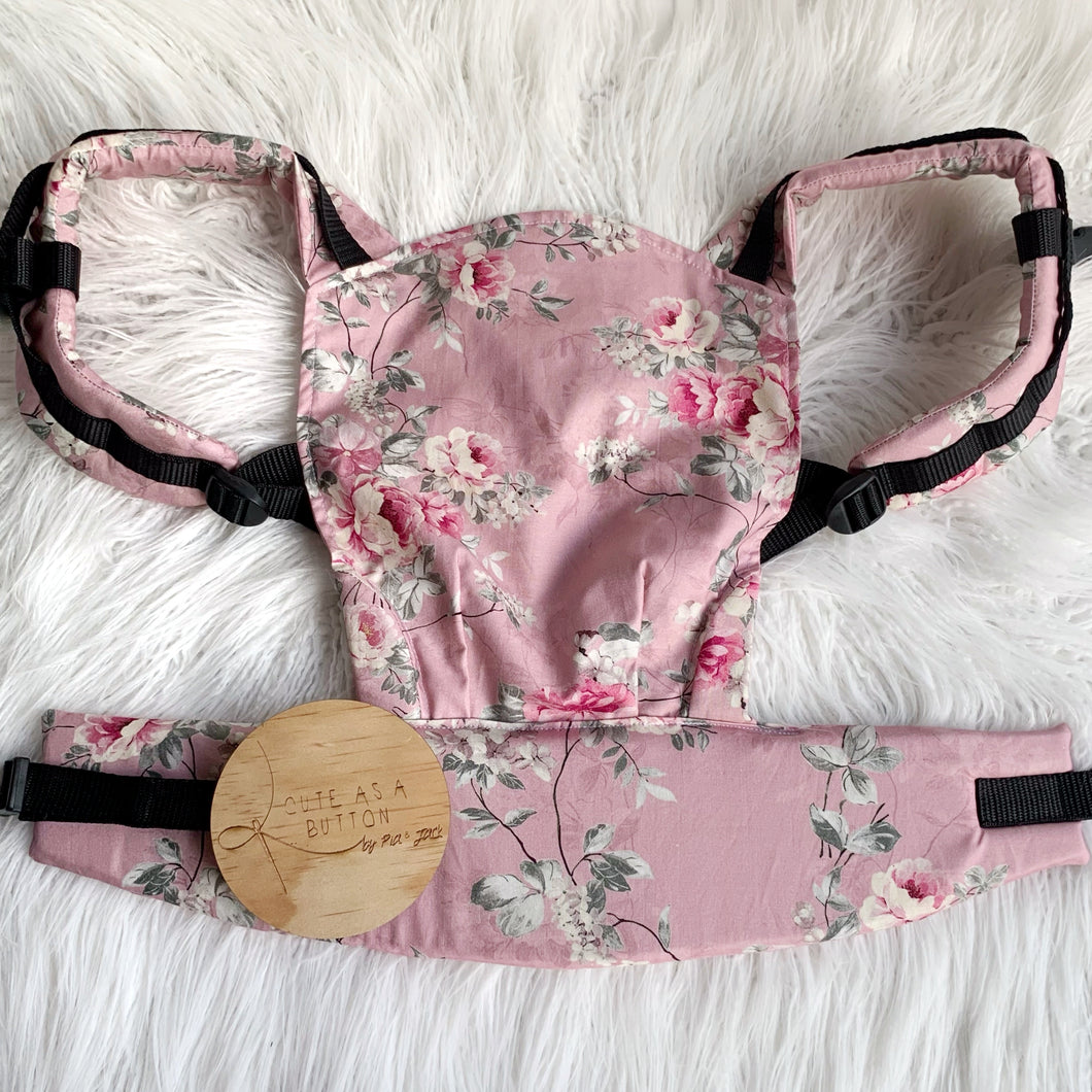 Dusty pink floral doll carrier, mini soft structured carrier