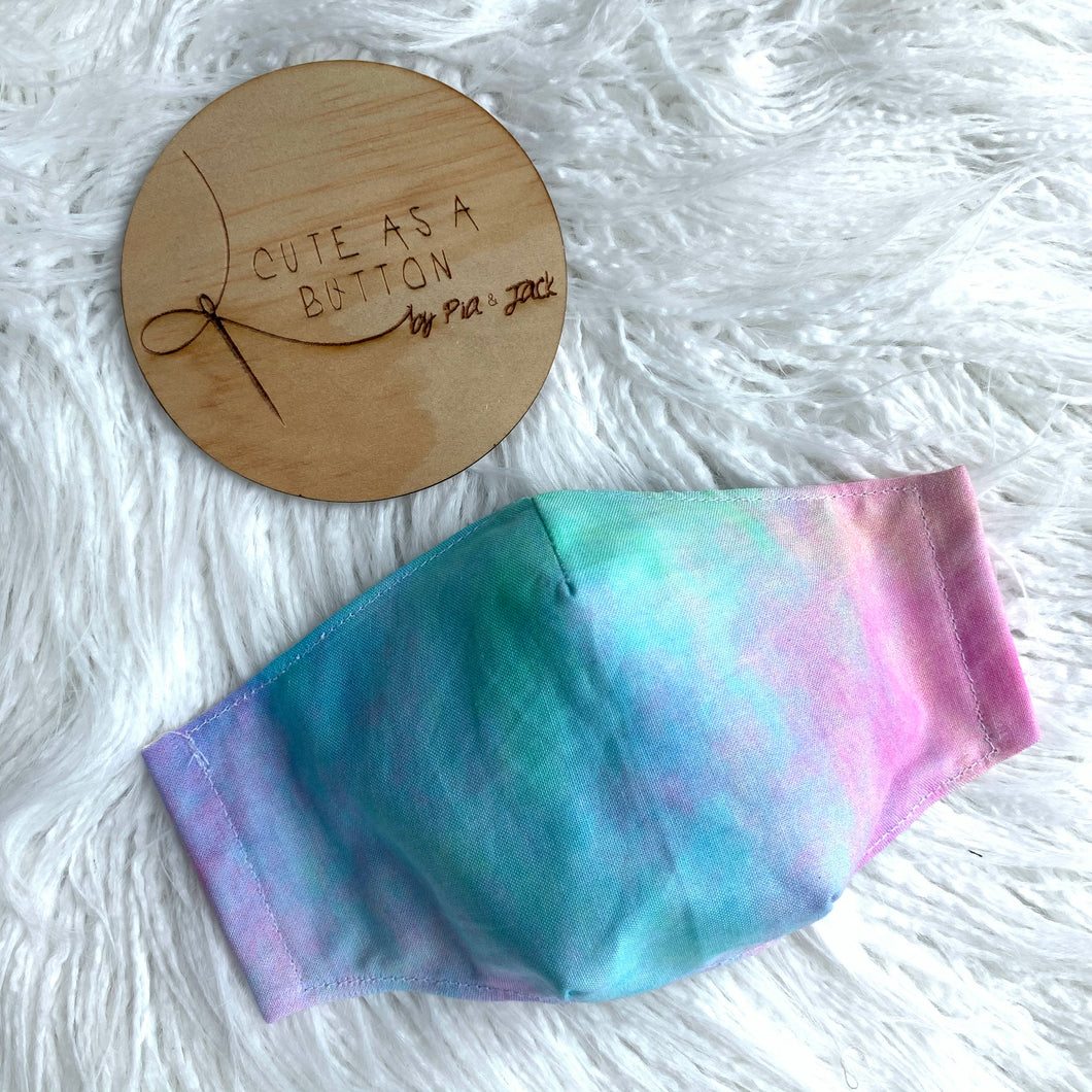 Rainbow watercolour face mask