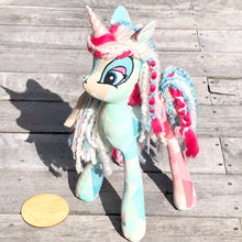 handmade unicorn in cotton candy geometric wrap scrap, ankalia mako carousel. available for custom order. unicorn plush toy handmade in australia.