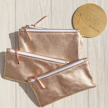 Serendipity rose gold leather pouch