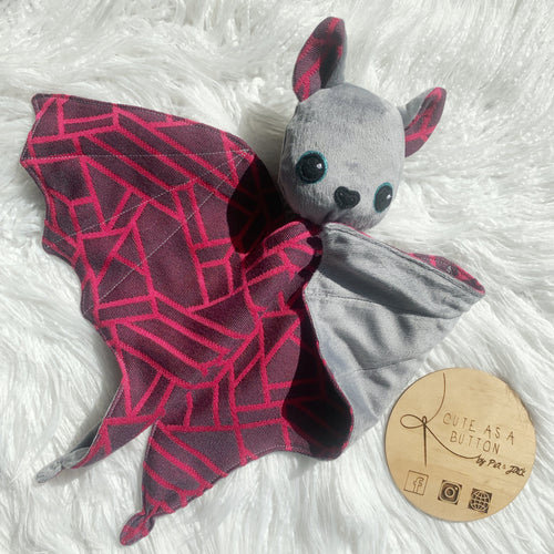 Bat snuggle buddy- pink and grey