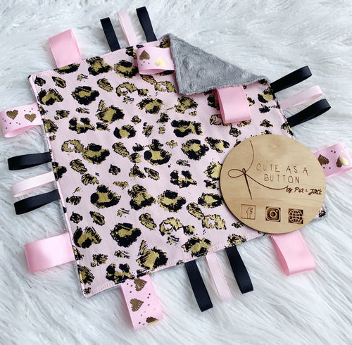 Pink and gold leopard taggie