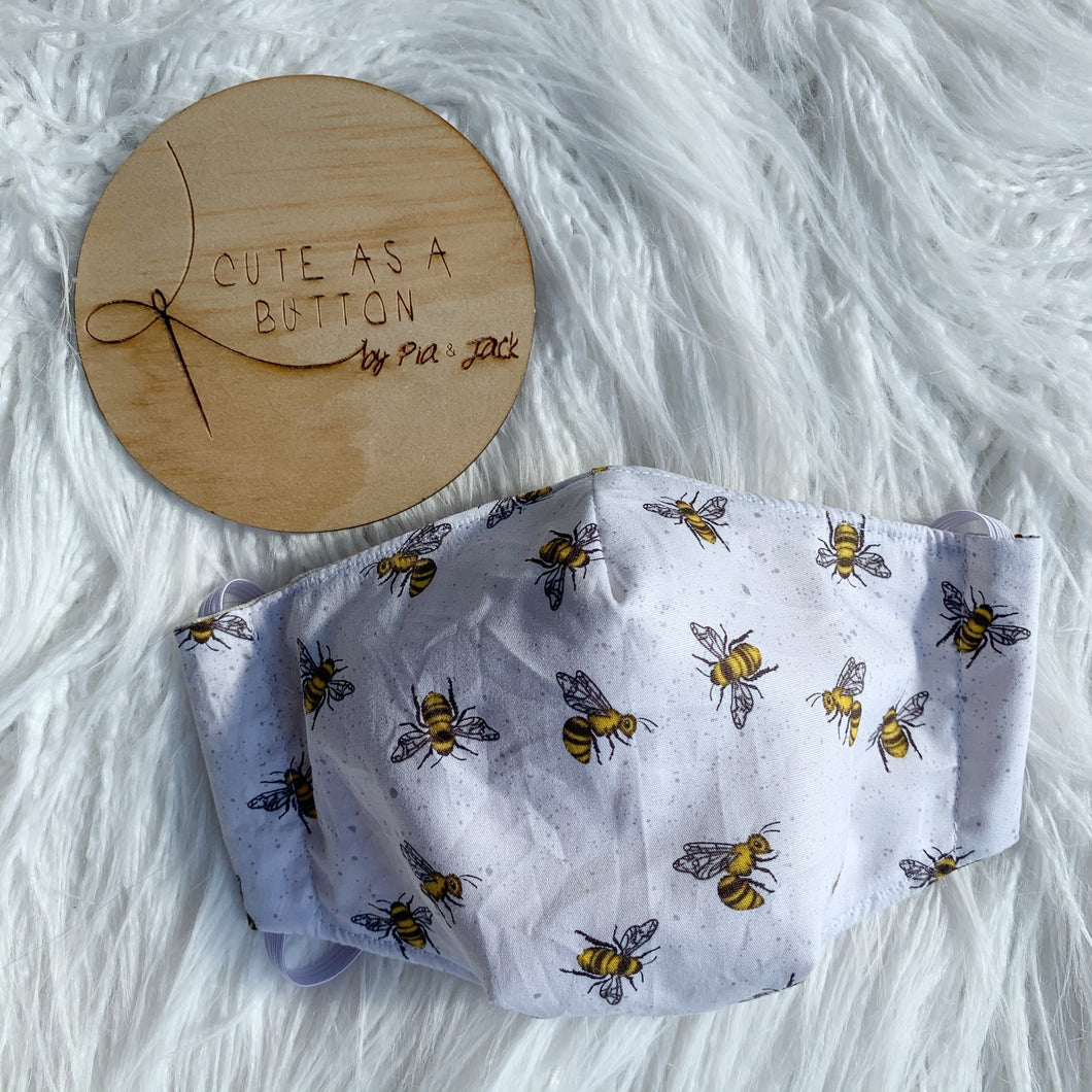 White bees face mask
