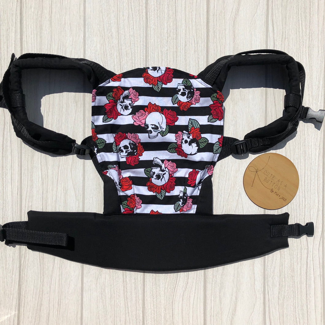 skulls and roses doll carrier, mini soft structured carrier