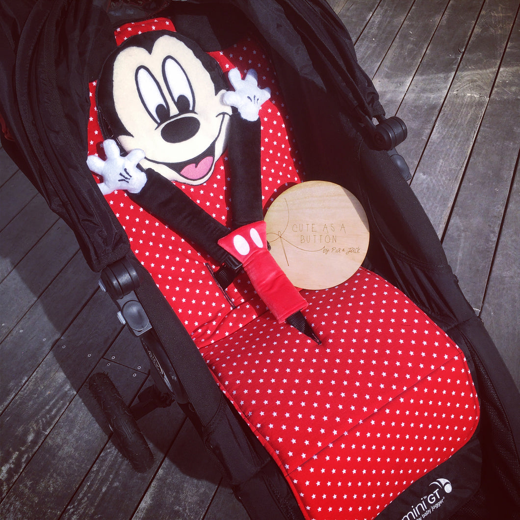 Hey Mickey character pram liner with strap covers