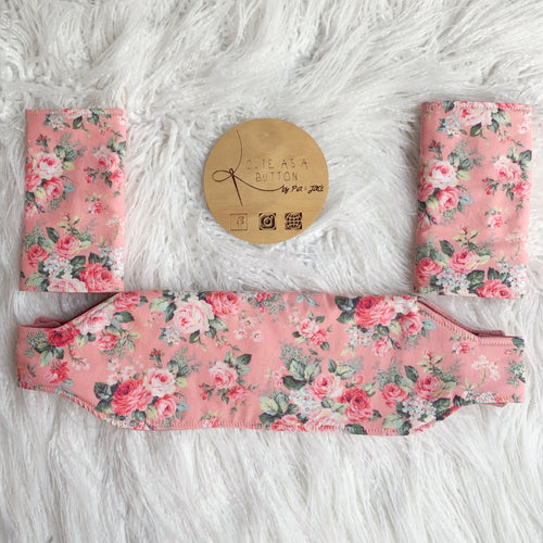 Peach floral Ergo 360 Accessory Set- Suck/drool/teething pads and bib.