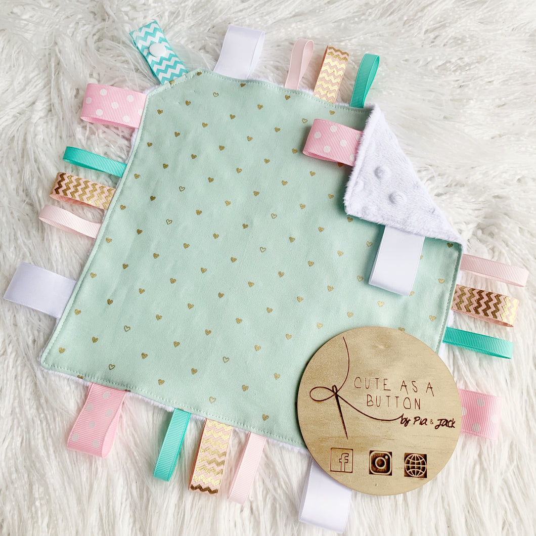 Mint with gold hearts taggie