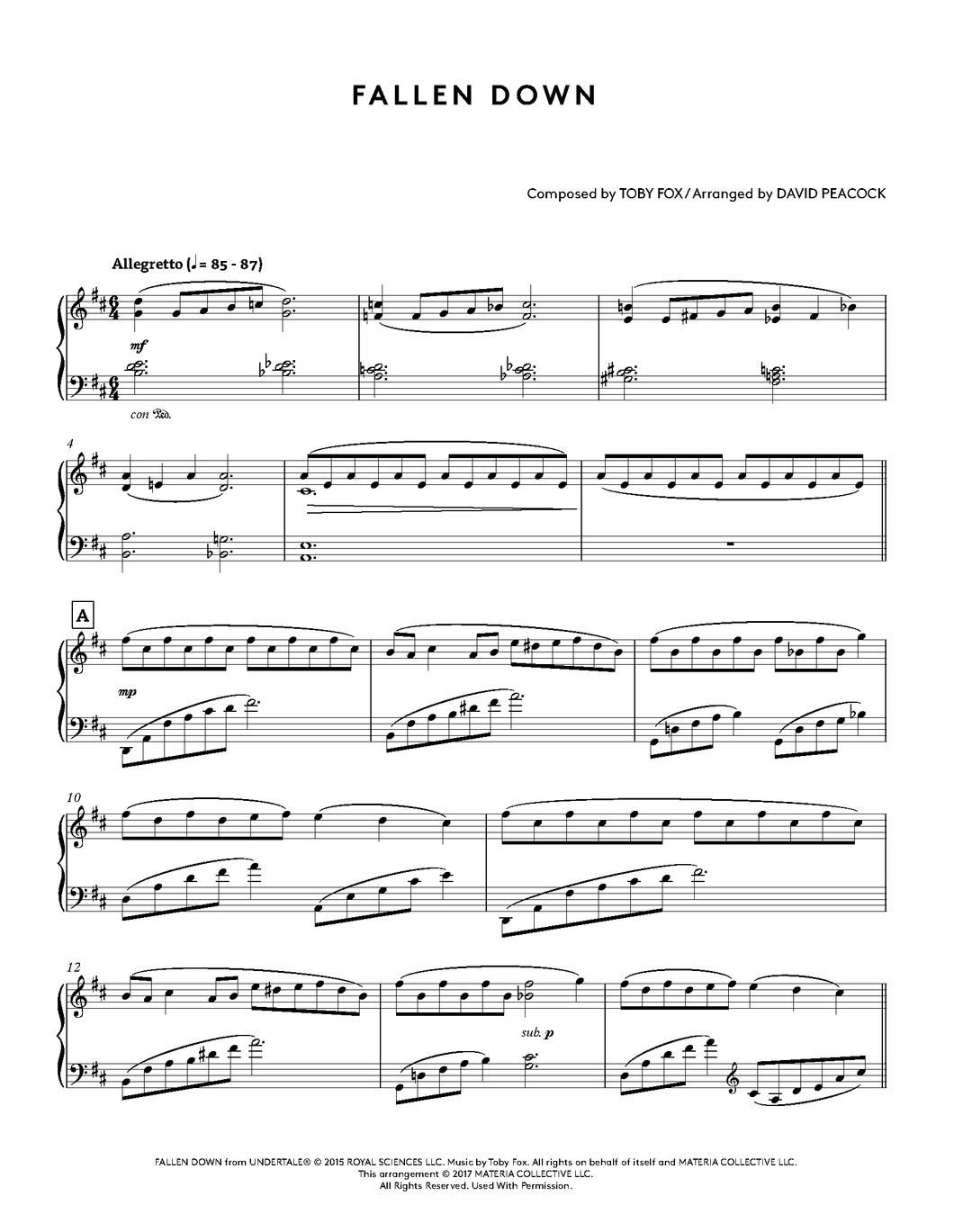 Undertale Piano Collections Physical Sheet Music Book