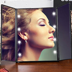 3-Way Travel Makeup Mirror w/ LED Lights