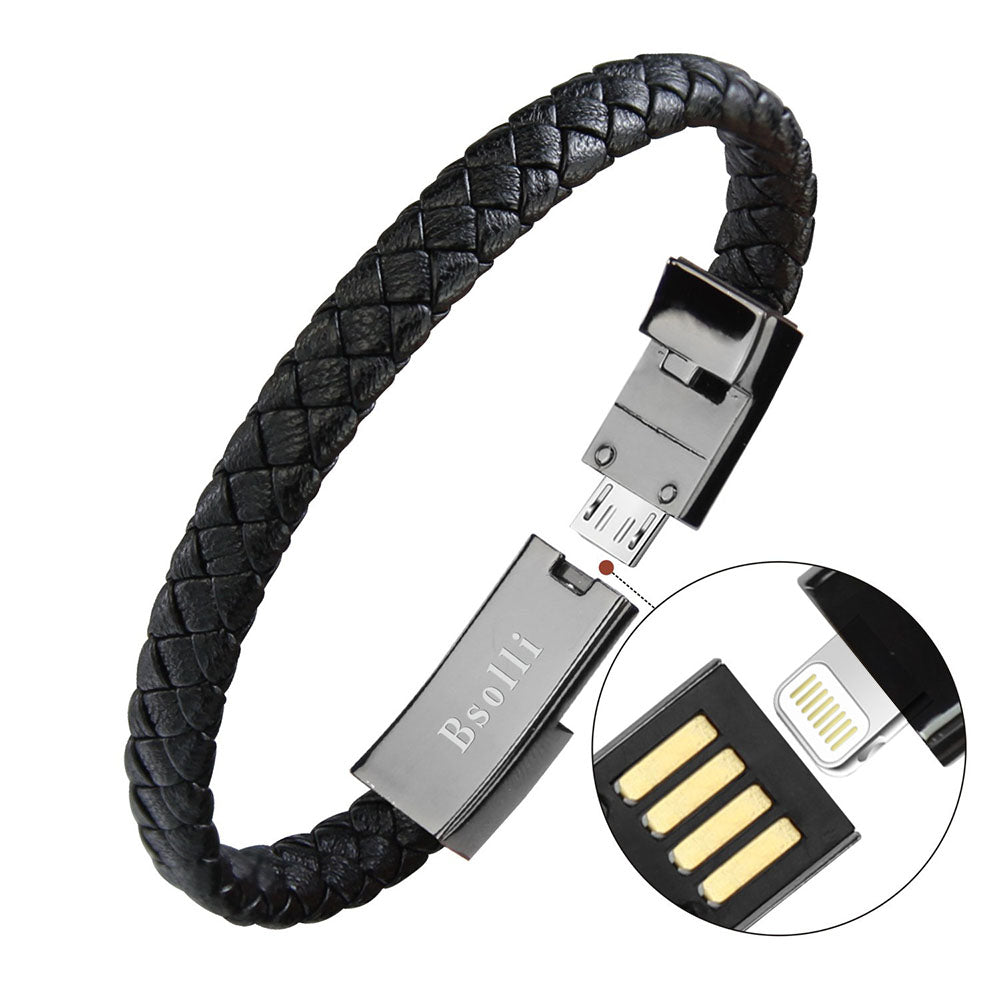 Leather USB Bracelet Charger Cable for IPhone 6, 7 and X