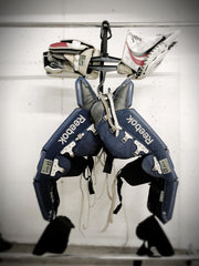 hockey hanger, heavy duty hanger, equipment hanger