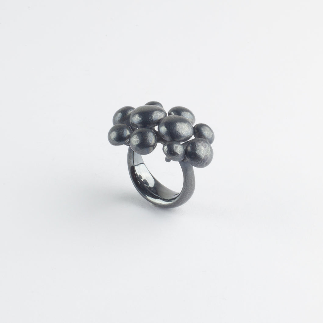 Blackened silver bubble ring