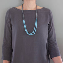 'Straws' necklace - blue/grey