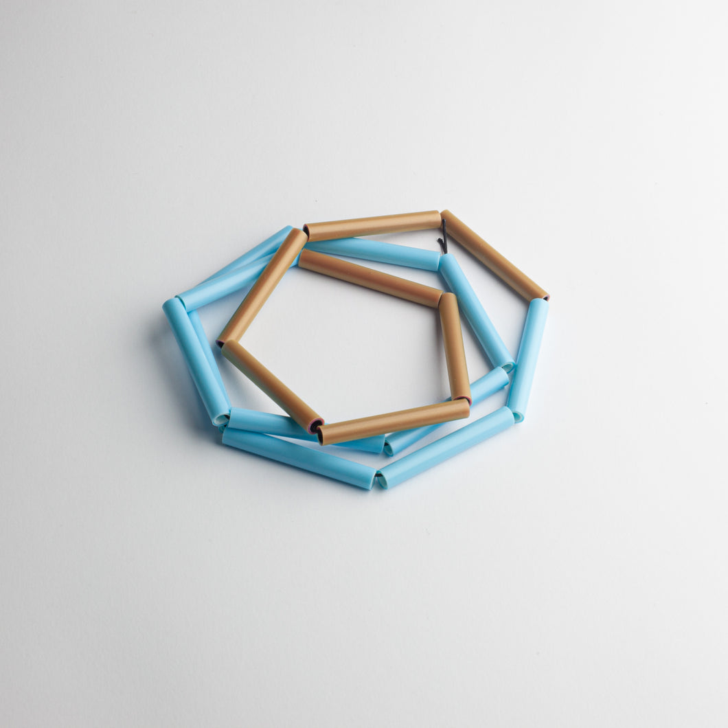 'Straws' necklace - brown/blue