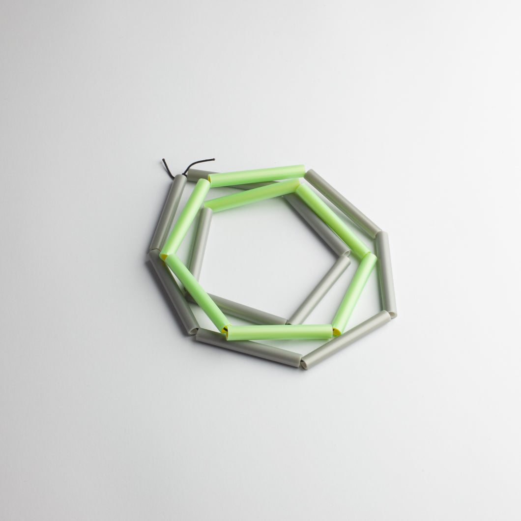 'Straws' necklace - green/grey