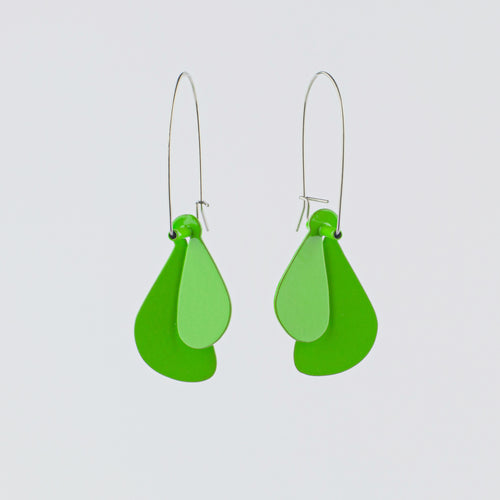 'Leaf' earrings (L) - green