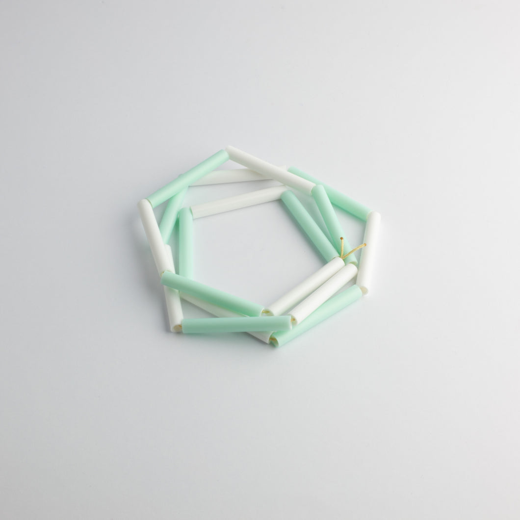 'Straws' necklace - turquoise/white