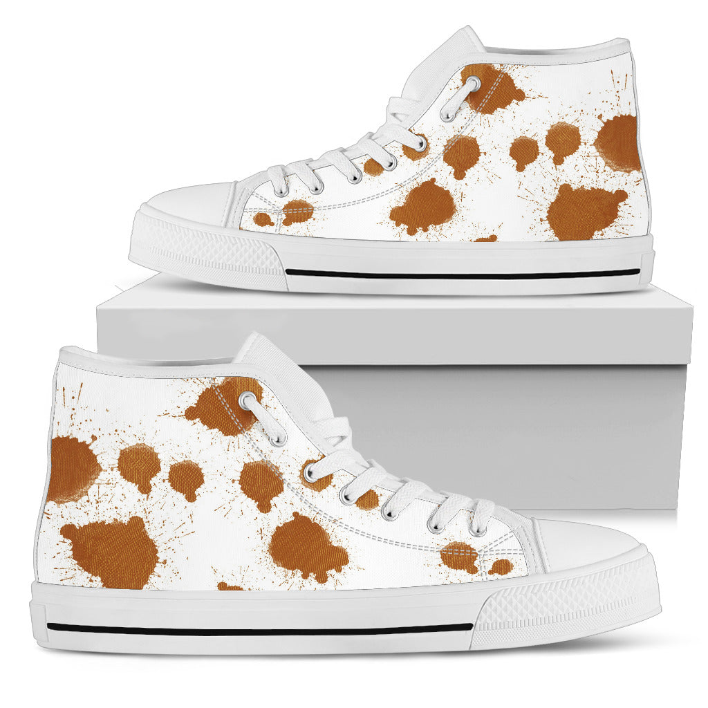 Cowhide High-Top Canvas Shoes - Women