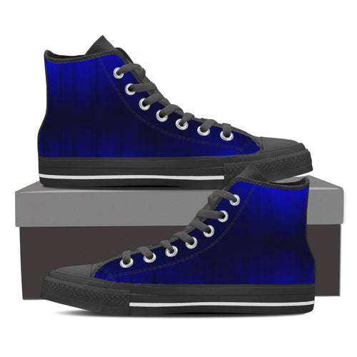 Blue on Blue - Men's High Top Canvas Shoes