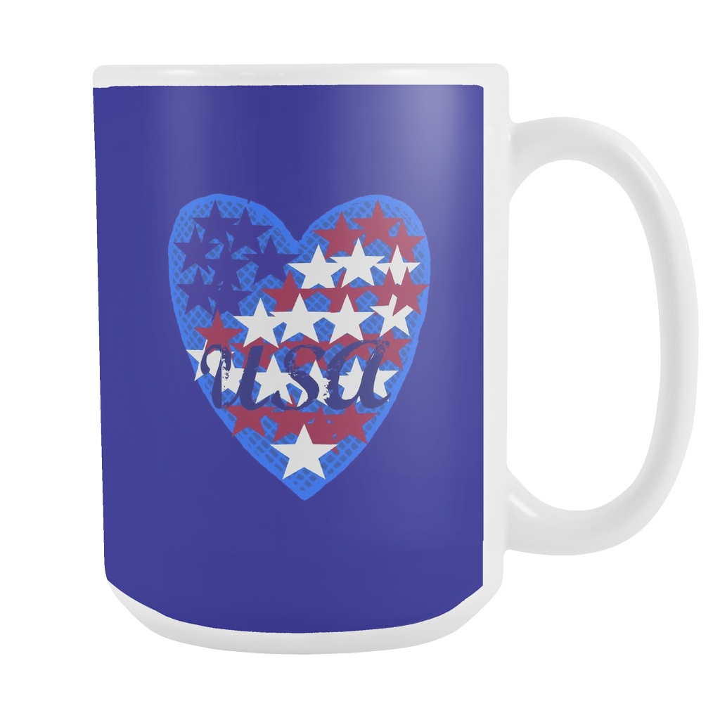USA Heart 15 oz Mug