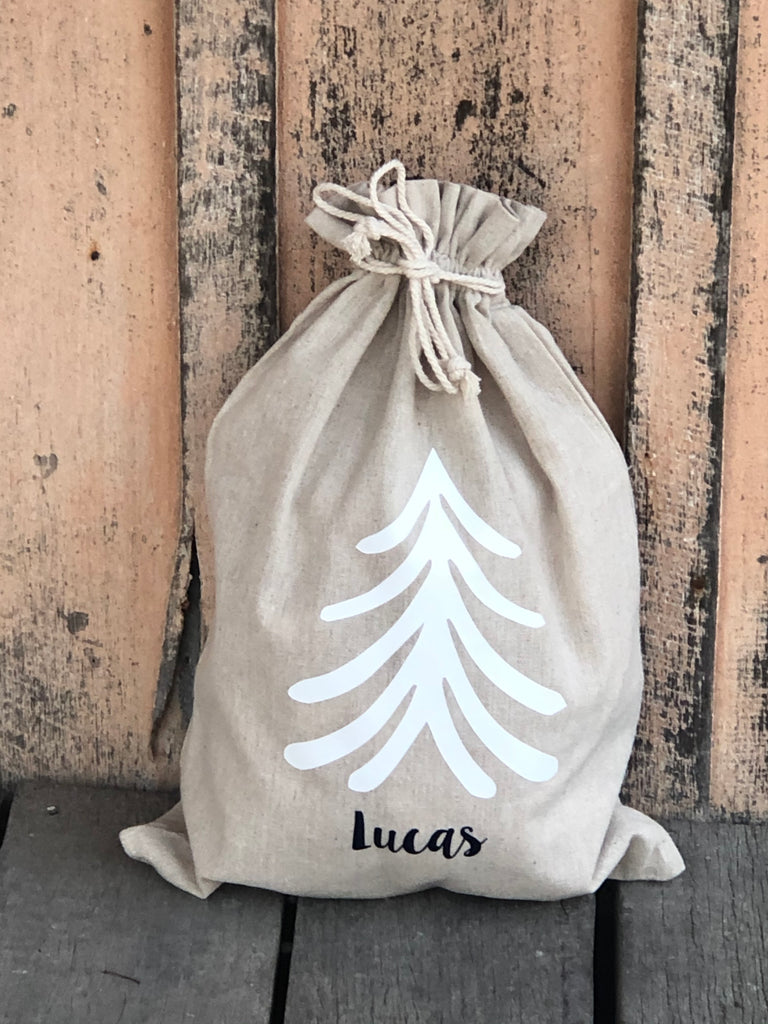 Santa Sacks Christmas Tree - Natural Linen/Cotton Medium Size