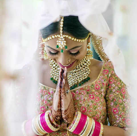 indian wedding, kundan jewellery, matha patti indian bride